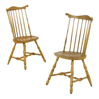 Mustard Painted Fan Back Side Chairs - A Pair