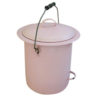 Pale Pink 1920s French Enameled Pail & Lid