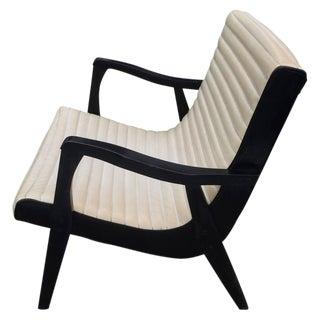Mid-Century Black & Ivory Vinyl Lounge Chair