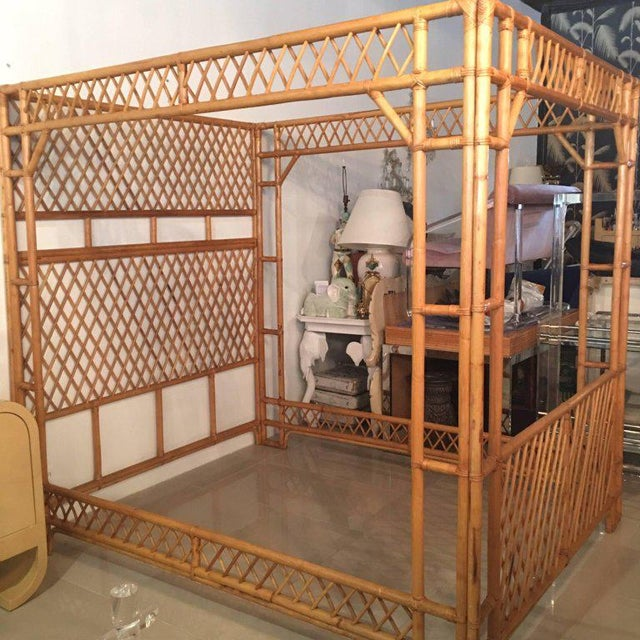 Rattan Bamboo Chinese Chippendale Queen Canopy Bed - Image 4 of 12