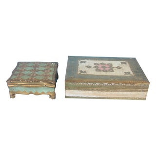 Florentine Wood Painted Boxes - A Pair