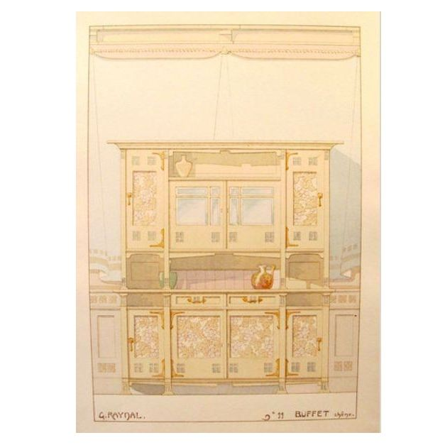 Image of Vintage French Decorator Sheet Interior/Buffet