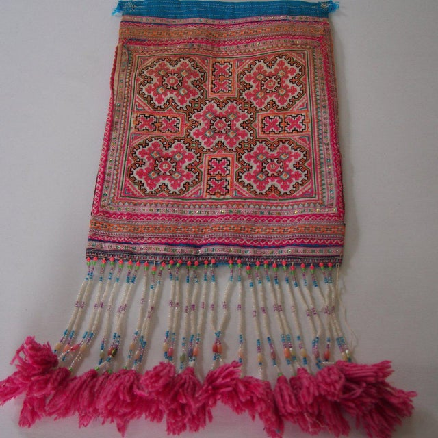 Vintage Needlepoint Pink Beaded Pom Pom Thai Textile - Image 6 of 7