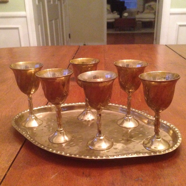 Vintage Brass Cordial Glasses and Tray - Set of 7 - Image 2 of 11