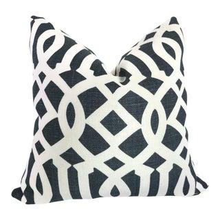"20"" x 20"" Blue Imperial Trellis Decorative Pillow Cover"