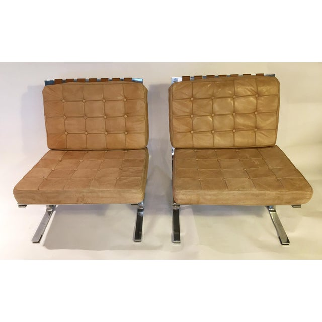 Image of Baughman Style Leather Patchwork Chairs - Pair