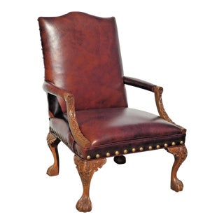 Gorgeous Sam Moore Burgundy Leather Arm Chair