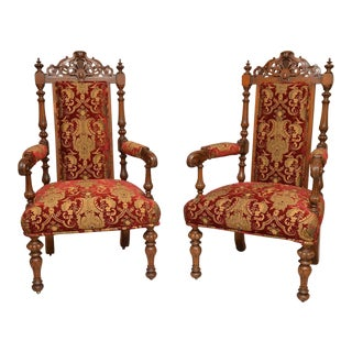 Pair of Antique English Carved Oak Arm Chairs c. 1880
