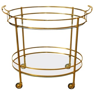 Hollywood Regency Oval Brass Two-Tier Cocktail Bar Cart
