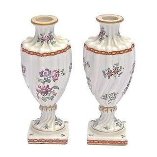Antique Meissen Porcelain Floral Urn Vases - A Pair