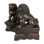 Image of Fine Antique Bronze Foo Lion/ Dog Pair