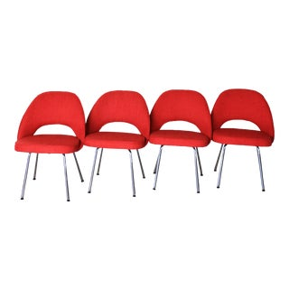 Red Knoll Style Executive Side Chairs- Set of 4