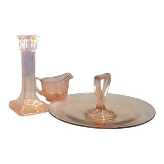 Vintage Pink Glass. Pink Depression Glass Collection - Set of 3