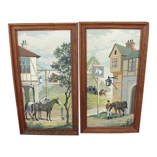 1950's Paint by Numbers Colonial Horses - Pair