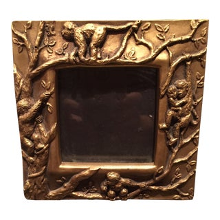 Carved Burnished Brass Monkey Picture Frame