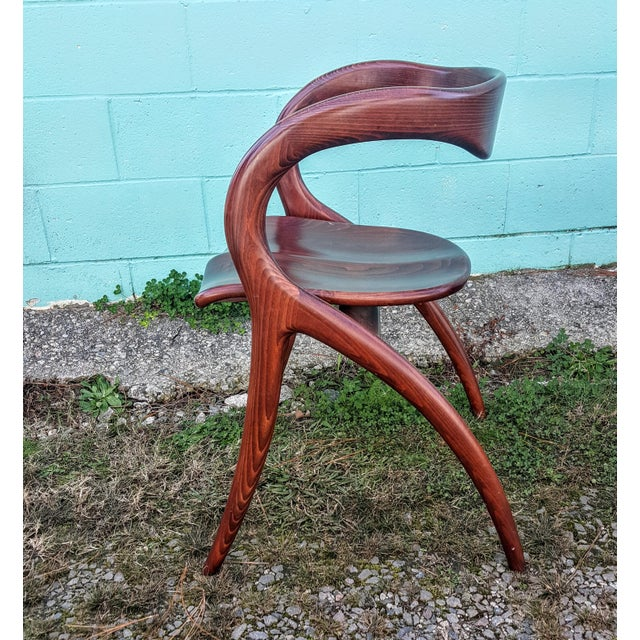 Vintage Solid Curved Cherry Wood Dining Chairs - Set of 6 - Image 7 of 9