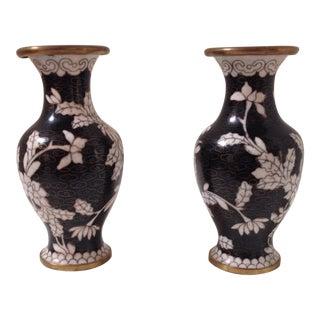 Black Cloisonné Vases - A Pair