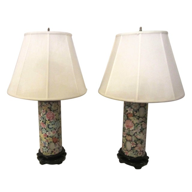 Asian Inspired Lamps With Night Light - A Pair - Image 1 of 8