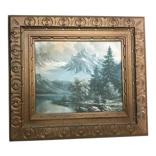 Winter Snow Mountain Scene Framed Art