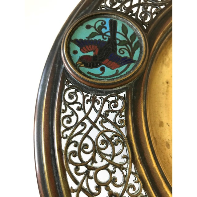 Antique Brass & Blue Bird Enamel Tazza - Image 4 of 6