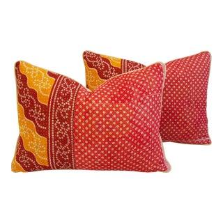 India Kantha Textile Fabric Pillows - A Pair