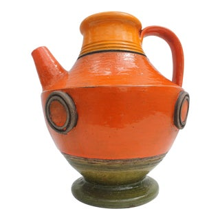Italian Aldo Londi For Bitossi Decorative Pottery Pitcher.