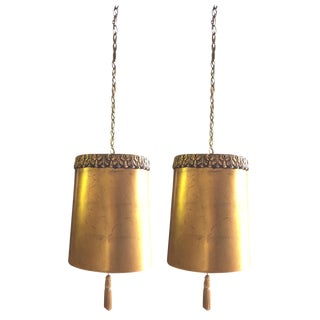 Hollywood Regency Gold Drum Lights - A Pair