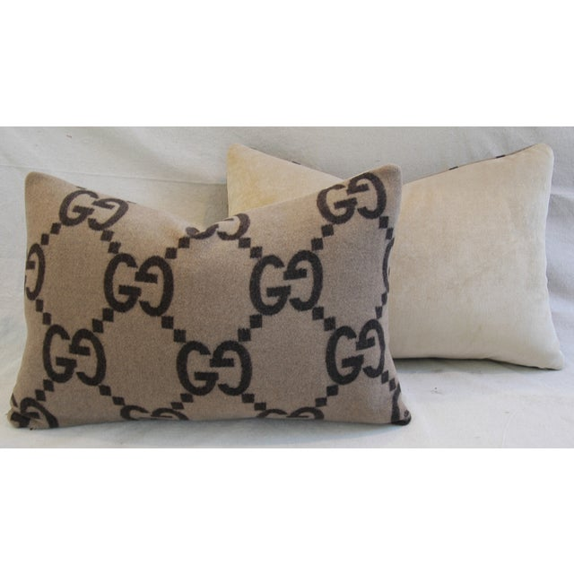 """23"""" X 16"""" Custom Tailored Gucci Cashmere & Velvet Feather/Down Pillows - Pair - Image 8 of 11"""