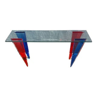 Shlomi Haziza Modern Lucite & Glass Console Table