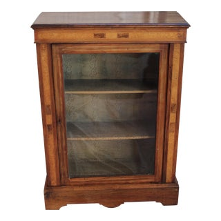 Antique Inlaid Walnut Display Cabinet