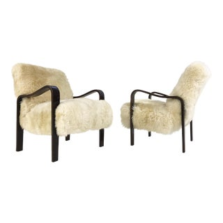 Forsyth One of a Kind Thonet Armchairs Restored in Brazilian Sheepskin - Pair