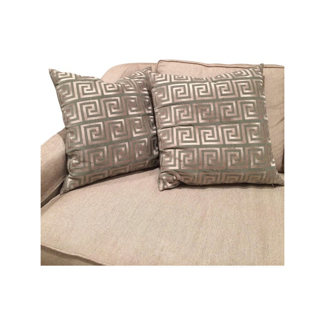 Greek Key Pillows - A Pair - Image 2 of 5