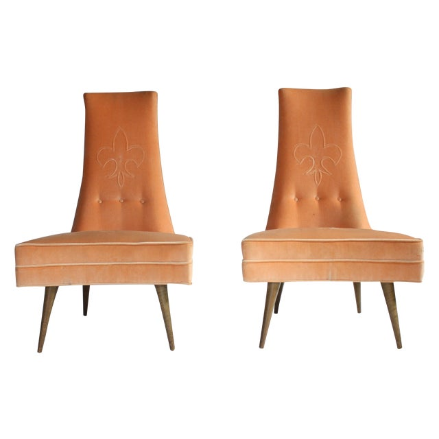 Image of Mid-Century High Back Slipper Chairs - A Pair