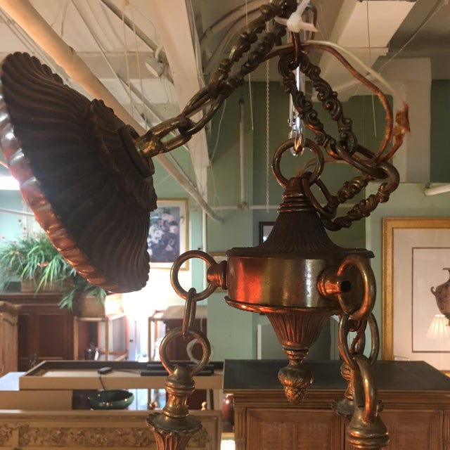 Antique Bronze French Art Deco Chandelier With Lalique Style Globes - Image 5 of 10