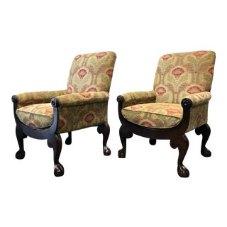 DREXEL HERITAGE Club Chairs with Ball & Claw Feet - Pair
