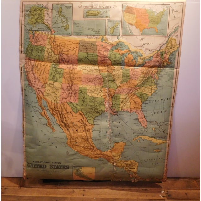 Antique 1922 Linen Educational Maps & Holder - S/5 - Image 8 of 9