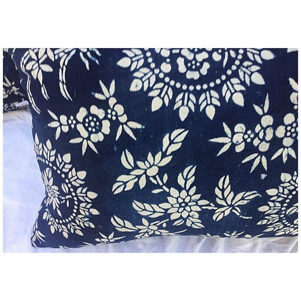 Image of Antique Floral Indigo Batik Pillows - A Pair