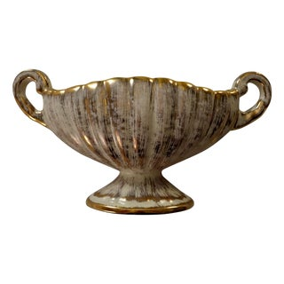 Vintage Gold and White Distressed Trophy Vase