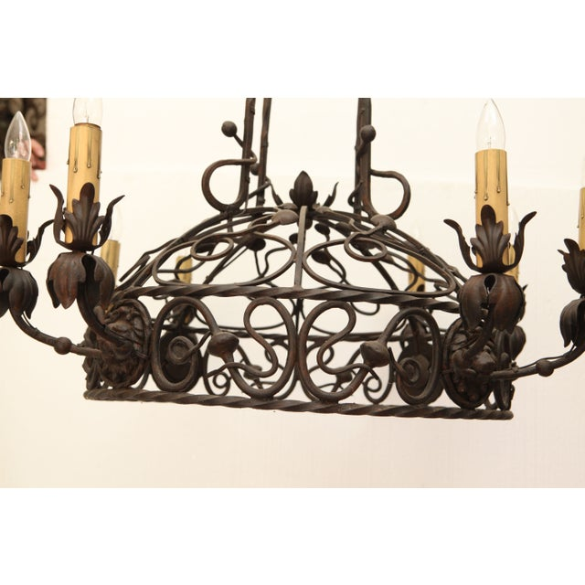1940's Wrought Iron Chandelier - Image 3 of 8
