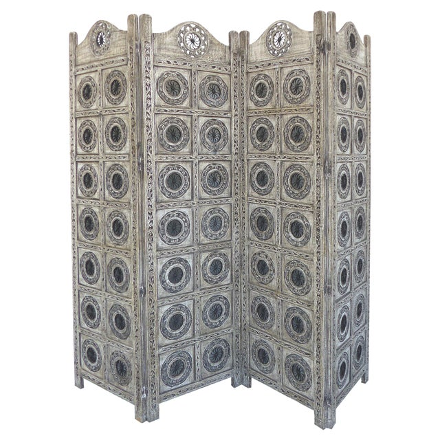 Gray 4-Panel Carved Screen with Iron - Image 1 of 8