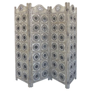 Gray 4-Panel Carved Screen with Iron