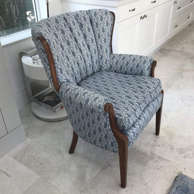 Blue Paisley Upholstered Arm Chair - Image 4 of 7