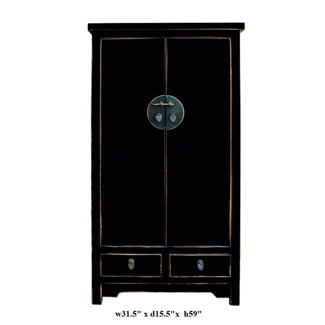 Image of Chinese Distressed Black Storage Cabinet