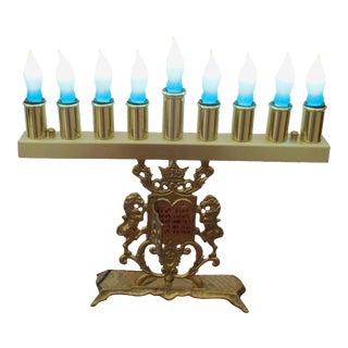 Vintage Electric Brass Menorah With Lion Torah and Ten Commandments