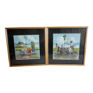 """Rice Paddy"" Original Watercolor on Silk Paintings- A Pair"