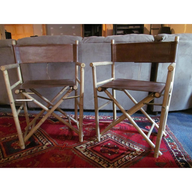 Custom Leather Director's Chairs - Pair - Image 2 of 4