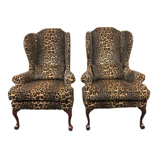 Custom Leopard Wingback Chairs - A Pair