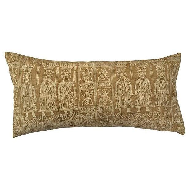 Image of Vintage Khaki Batik Tribal Warrior Textile Pillow