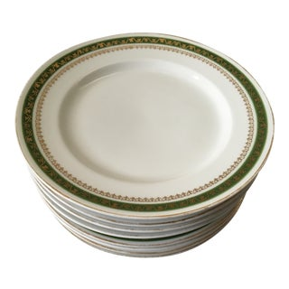 Royal Carlsbad Austrian Green & Gold China Plates- Set of 8
