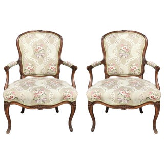 French Upholstered Armchairs - A Pair